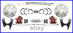 1959-1964 Impala Front/ Rear Chrome Power Disc Brake Conversion Kit Red Calipers