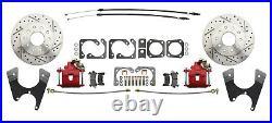 1975-81 Camaro Rear Disc Brake Conversion Kit RED Calipers Staggered Shocks