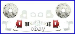1982-92 Chevy S-10 Rear Disc Brake Conversion Kit Red Calipers & Drilled Rotors