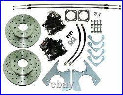 67-74 Staggered Rear End Axle Disc Brake Conversion Kit 10/12 Bolt Cross Drilled