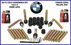 BMW Stud Racing Conversion 12x1.5 With Black Lug Nuts Full Kit Conical Lug Nuts