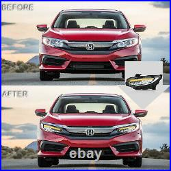 Customized LED Headlights with DRL Sequential Turn Signal For 16-18 Honda Civic
