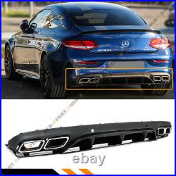 FOR 17-19 W205 2DR COUPE C43 C63 ED1 Style Bumper Diffuser + Chrome Exhaust Tips