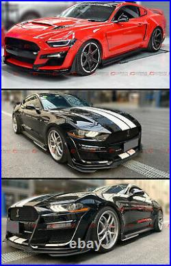 For 2015-2020 Ford Mustang GT500 Style Texture Blk Side Skirt Extension Splitter