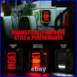 Xprite CREE LED Tail Lights Smoked Lens Reverse Turn for 07-18 Jeep Wrangler JK