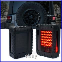 Xprite LED Tail Lights Smoked Rear Brake Lamp for 2007-2018 Jeep Wrangler JK