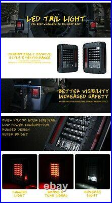 Xprite LED Tail Lights with Turn Signal/Brake/Reverse for 07-18 Jeep Wrangler JK