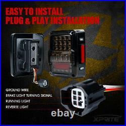 Xprite Smoked LED Tail Lights Brake Reverse Rear Lamp for 07-18 Jeep Wrangler JK